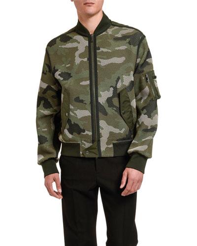 Men's Camo Mesh Bomber Jacket