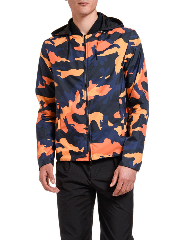 Valentino Men's Camo Wind-Resistant Jacket In Orange/Blue