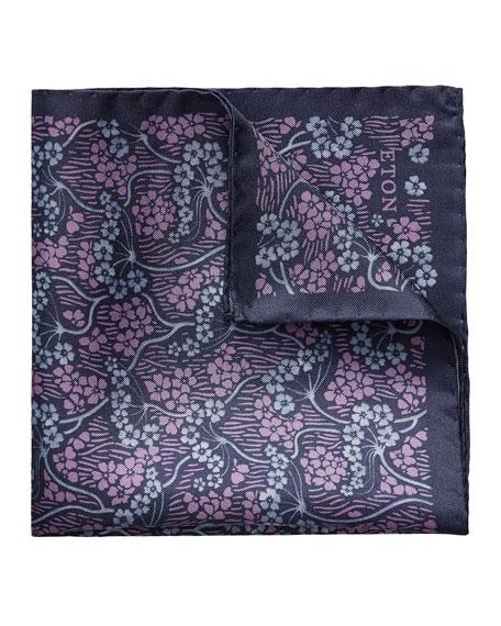 Eton Men's Two-Tone Flowers Silk Pocket Square