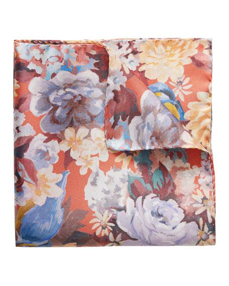Eton Men's Bird & Flower Silk Pocket Square