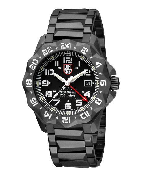 Luminox Men's 45mm Nighthawk 6400 Gunmetal Bracelet Watch
