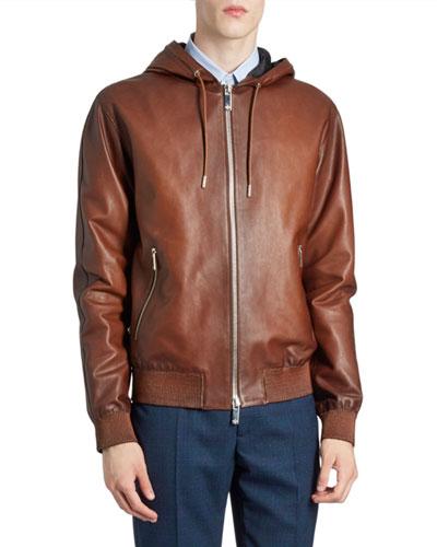 Men's Leather Zip-Front Hoodie