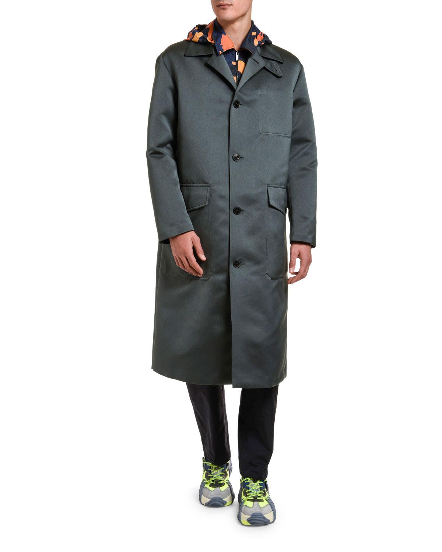 Valentino Coats MEN'S KNEE-LENGTH SATIN OVERCOAT