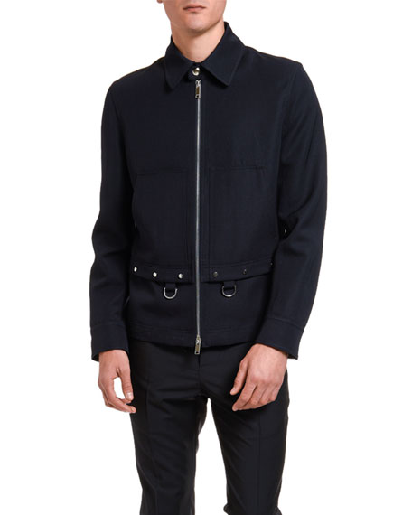 Valentino Men's Wool Shirt-Collar Jacket with Metal Pulls