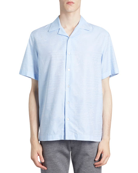 Berluti Men's Scritto Silk Short-Sleeve Sport Shirt