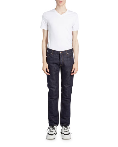 Men's Dark-Wash Straight-Leg Jeans