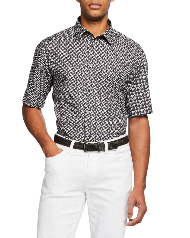Men's Geometric Point-Collar Sport Shirt