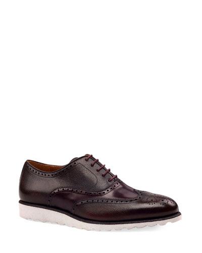 Men's Wing-Tip Leather Platform Oxford Shoes