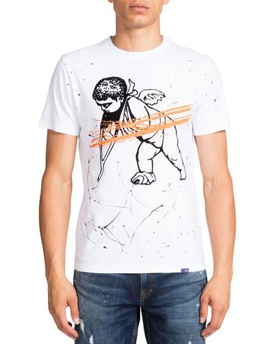 Men's Paint Splatter Cherub Graphic T-Shirt