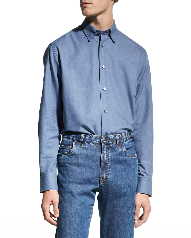 Men's Solid Chambray Sport Shirt