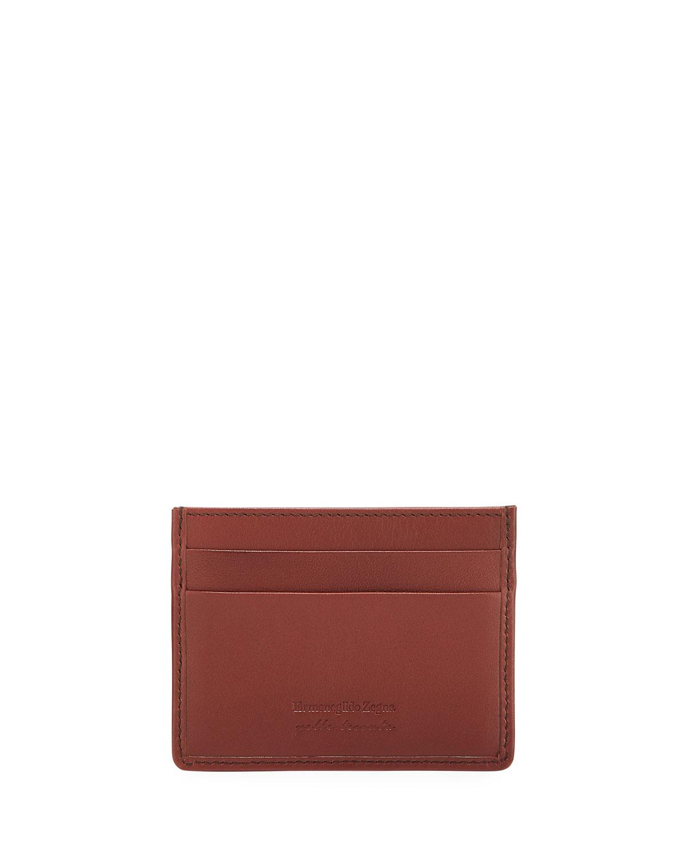 Ermenegildo Zegna Bags MEN'S WOVEN LEATHER CARD CASE