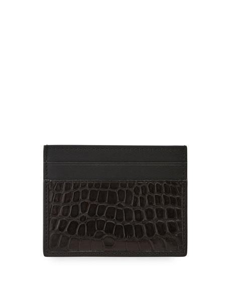 Ermenegildo Zegna Men's Simple Alligator/Calf Leather Card Case