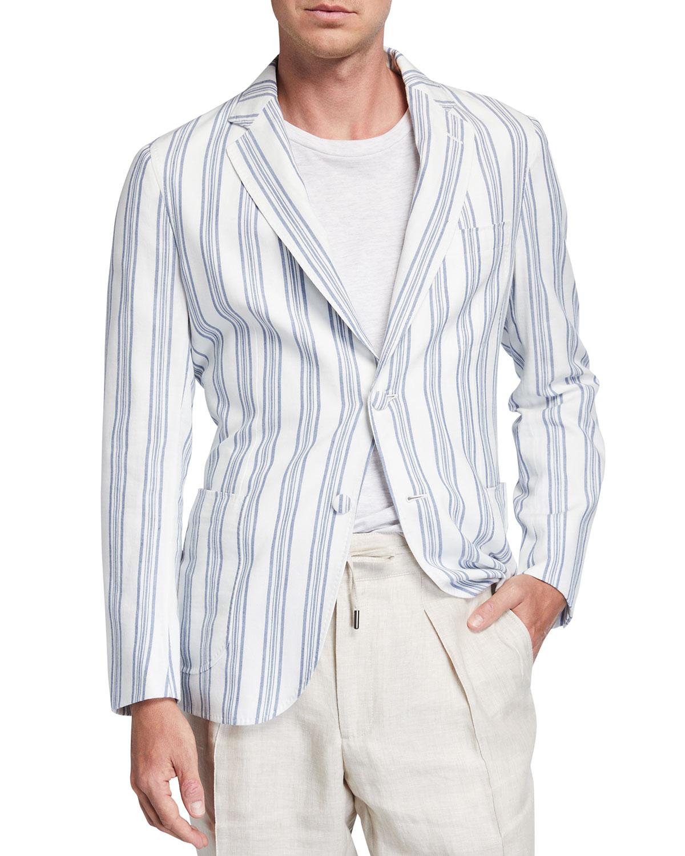 Men's Striped Cotton-Linen Sport Jacket