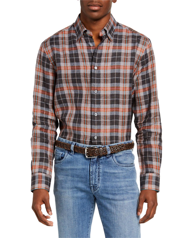 Men's Madras Plaid Linen Sport Shirt