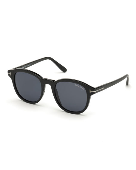 TOM FORD Men's Jameson Round Solid Acetate Sunglasses