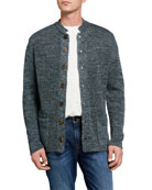 Inis Meain Men's Stand-Collar Button-Front Cardigan