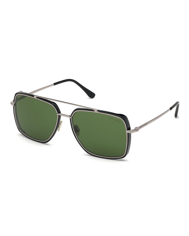Men's Lionel Square Metal Double-Bridge Sunglasses