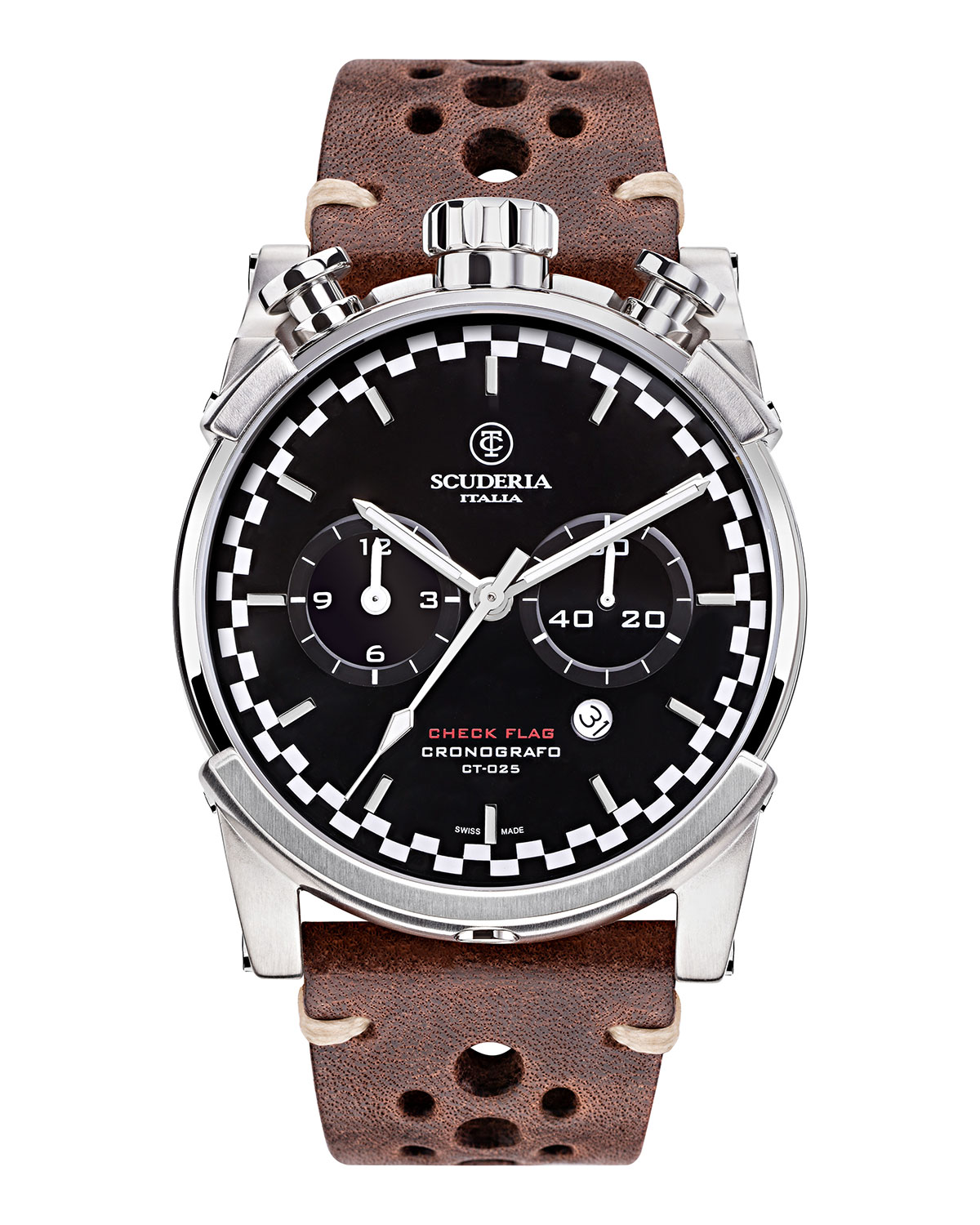 Men's 44mm Check Flag Chronograph Leather Watch