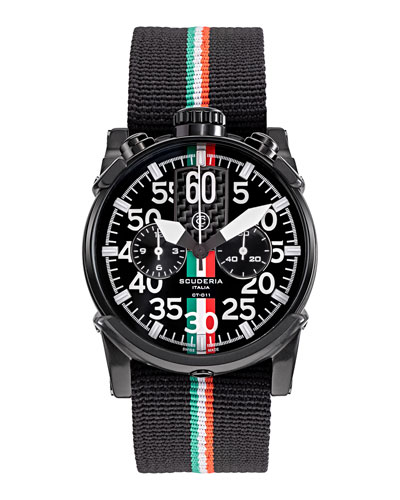 Men's 44mm Saturno Italian Flag Chronograph Watch