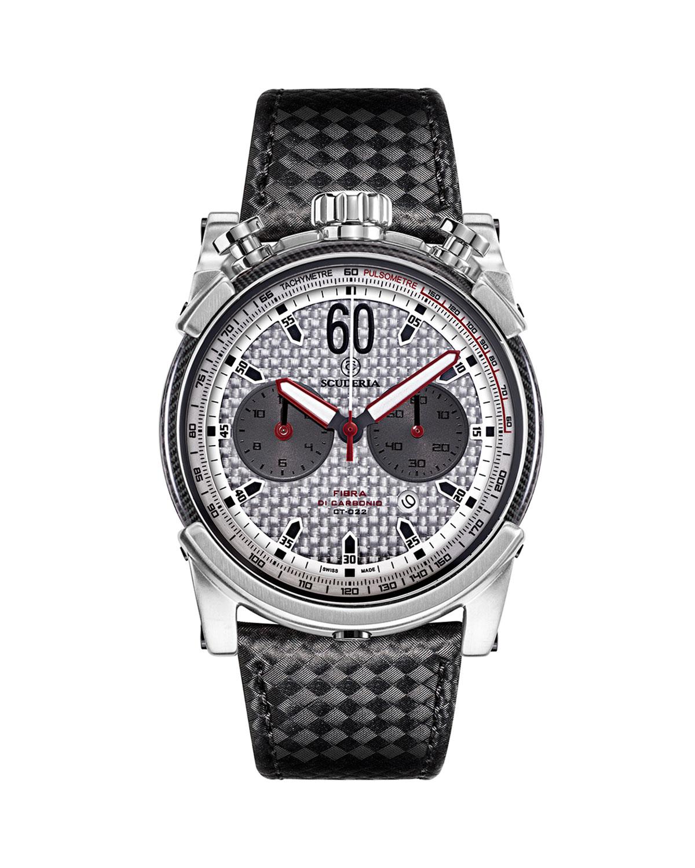 Men's 44mm Chronograph Carbon Fiber Watch