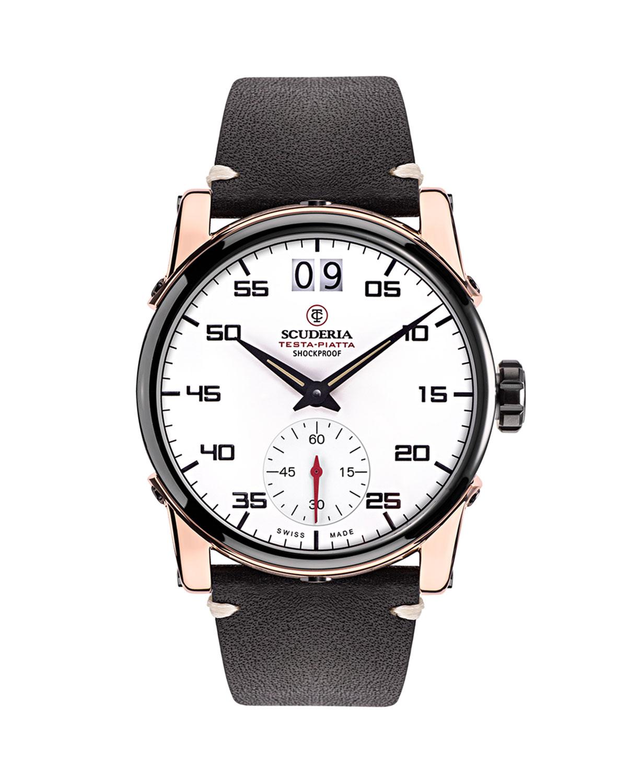 Men's 42mm Testa-Piatta Rose Gold Leather Watch