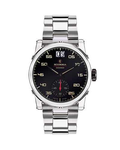 Men's 42mm Testa-Piatta Stainless Steel Bracelet Watch
