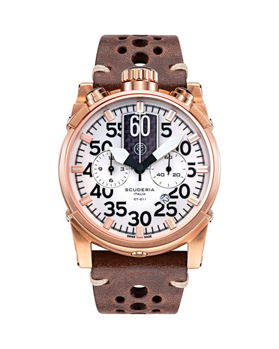 Men's 44mm Saturno Chronograph Leather Watch