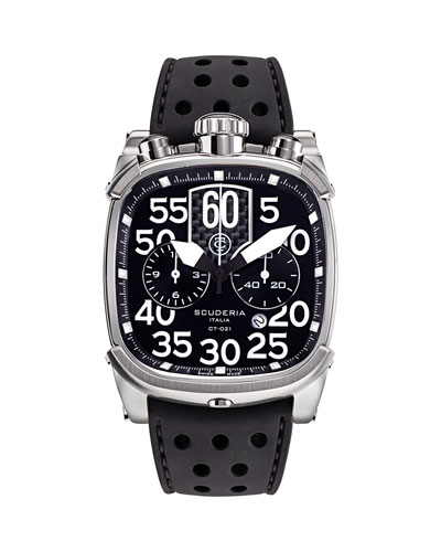 Men's Scrambler Square Chronograph Perforated Silicone Watch