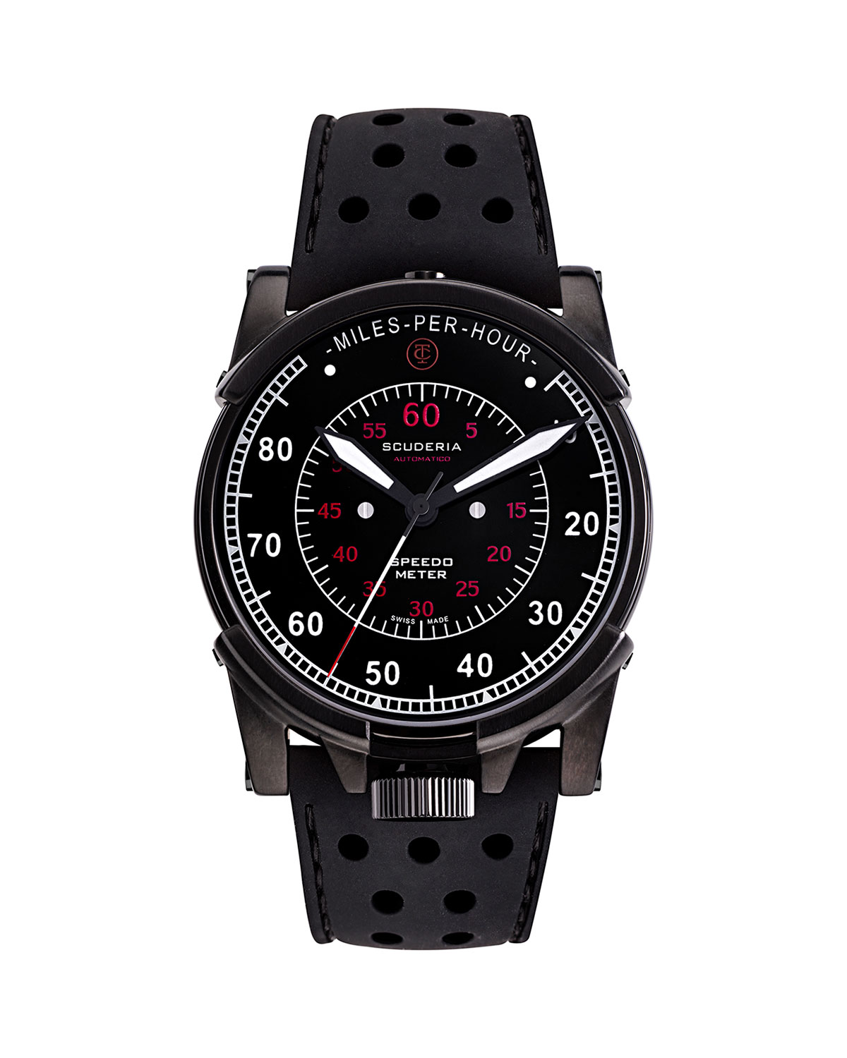 Men's 44mm Dashboard Automatic Perforated Silicone Watch