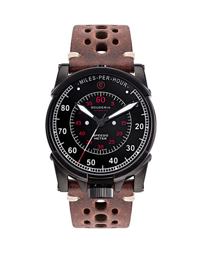 Men's 44mm Dashboard Automatic Perforated Leather Watch