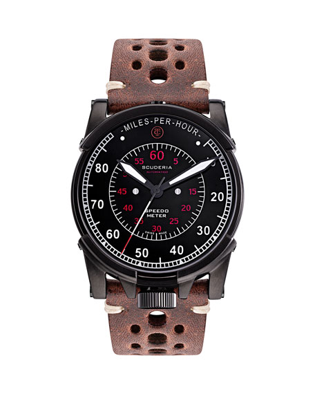 CT Scuderia Men's 44mm Dashboard Automatic Perforated Leather Watch