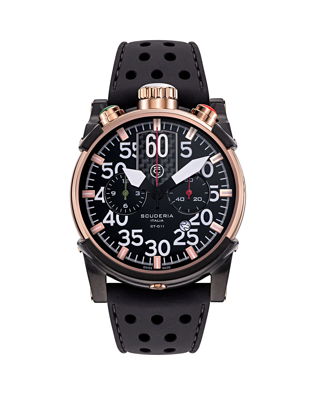 Men's 44mm Saturno Chronograph Silicone Watch