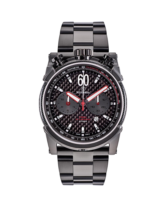 Men's 44mm Chronograph Carbon Fiber Bracelet Watch