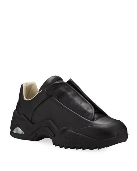 Maison Margiela Men's New Future Hidden-Lace Leather Sneakers