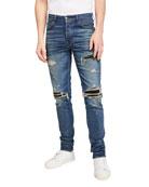 Amiri Men's Suede-Patched Medium-Wash Jeans