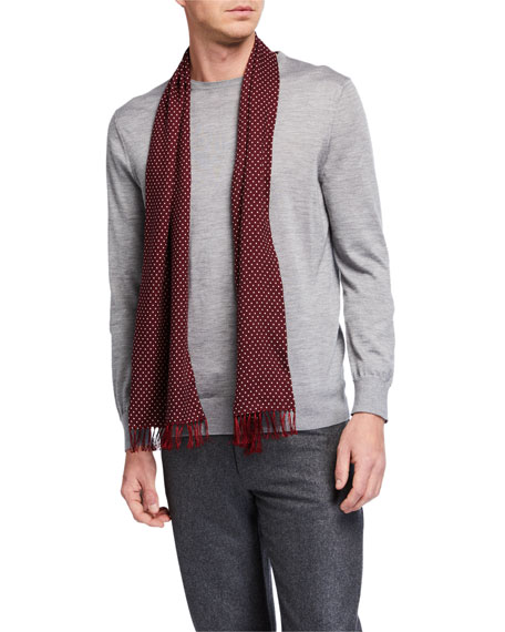 TOM FORD Men's Polka Dot Fringe Scarf