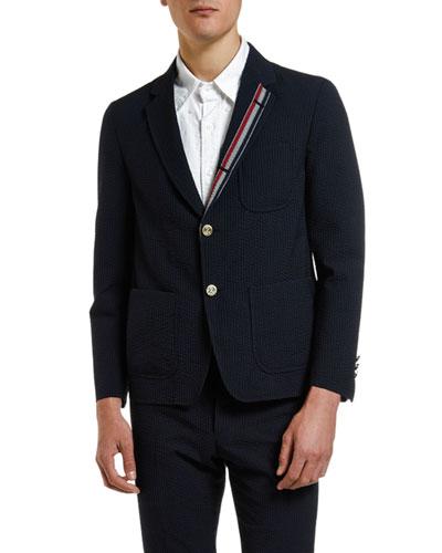 Men's Wool Seersucker Unconstructed Sport Jacket