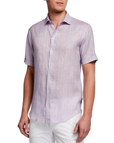 Men's Micro-Box Linen Short-Sleeve Sport Shirt