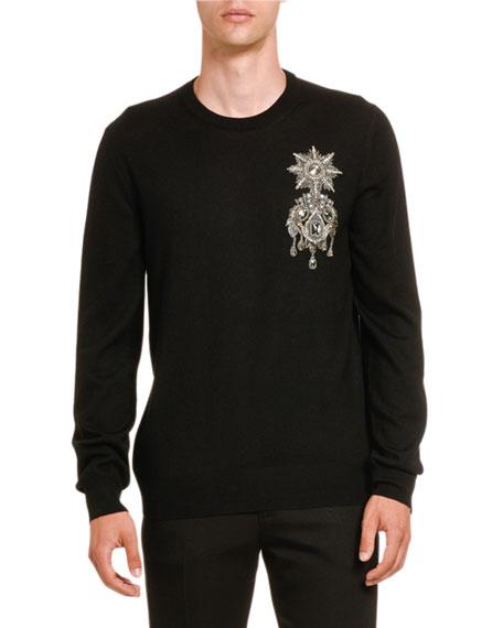 Alexander McQueen Men's Jeweled Military Emblem Sweater
