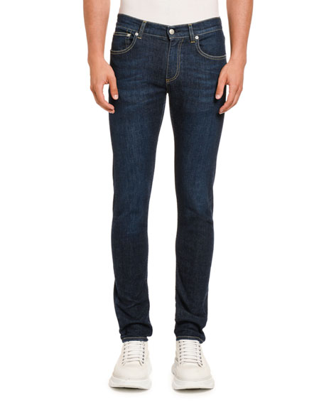 Alexander McQueen Men's Slim-Leg Dark-Wash Jeans