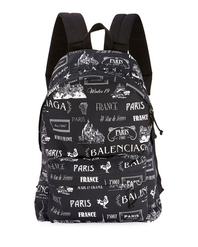 Men's Two-Tone Logo Typographic Backpack