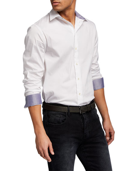 Emporio Armani Men's Solid Contrast-Reverse Neat Sport Shirt