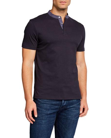 Emporio Armani Men's Short-Sleeve Contrast-Collar Henley Shirt