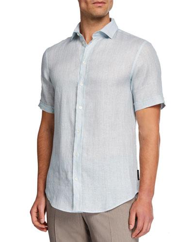 Men's Solid Micro-Box Linen Sport Shirt