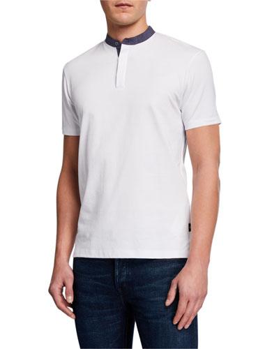 Men's Short-Sleeve Contrast-Collar Henley Shirt