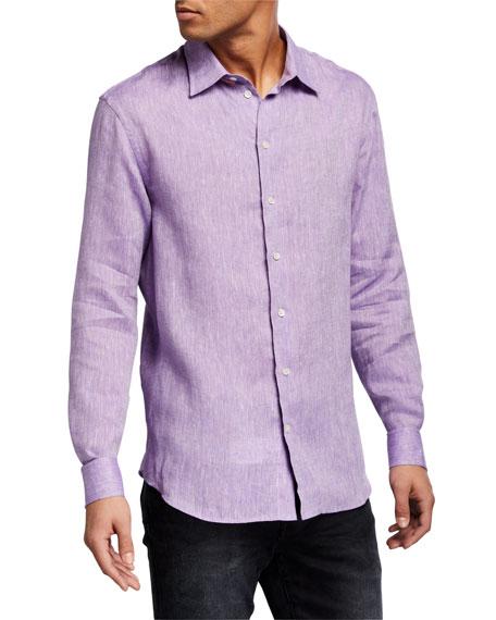 Emporio Armani Men's Solid Linen Sport Shirt
