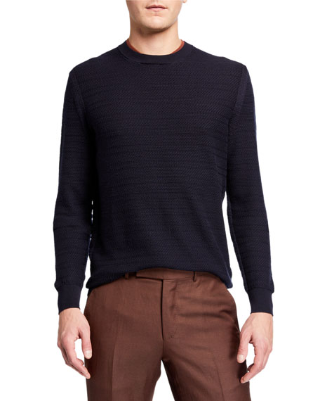 Ermenegildo Zegna Men's Textured Stripe Crewneck Sweater
