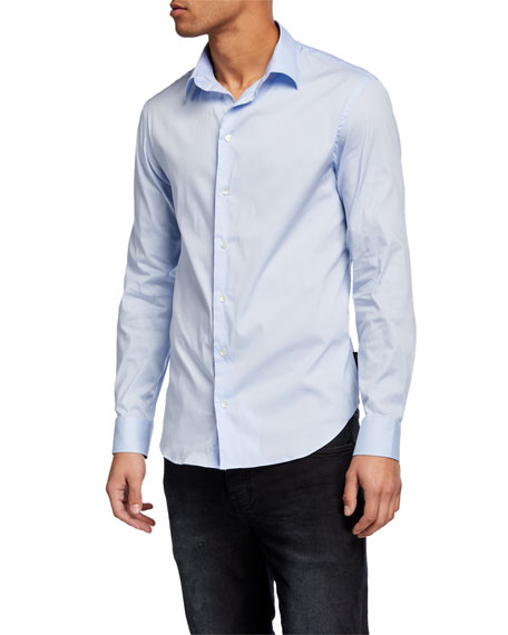 Emporio Armani Men's Solid Cotton-Blend Sport Shirt
