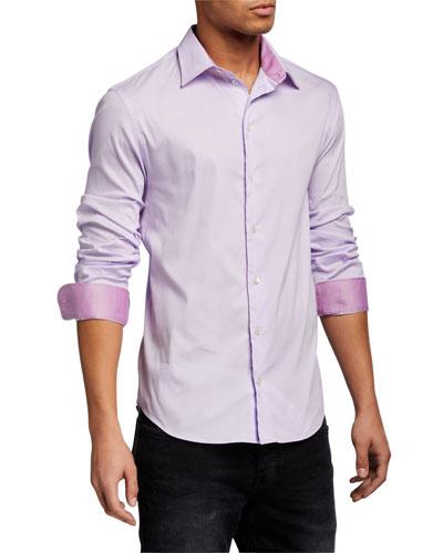 Men's Solid Contrast-Reverse Neat Sport Shirt