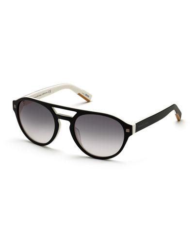 Men's Round Two-Tone Acetate Gradient Sunglasses